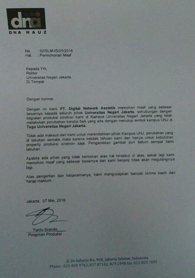 Surat Permohonan Maaf Unjkitacom